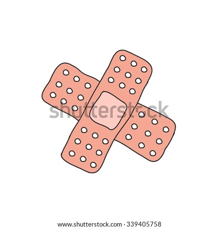 doodle icon. adhesive plaster. vector illustration - stock vector