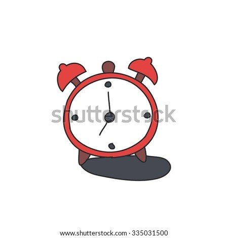 doodle icon. alarm clock. vector illustration - stock vector