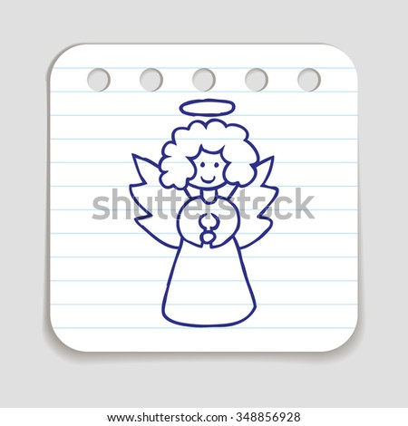 Doodle icon of Christmas Angel.  Blue pen hand drawn infographic symbol on a notepaper piece. Line art style graphic design element. Web button with shadow. Vector illustration - stock vector