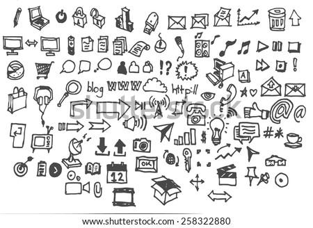 Doodle icon set - web & internet - stock vector