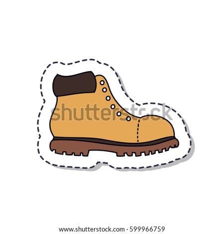 Doodle icon sticker lumberjack shoes isolated on white background vector illustration