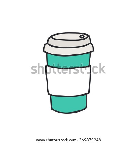 doodle icon. take away coffee cup. vector illustration - stock vector