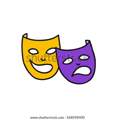 doodle icon. theatrical masks. Mardi Gras symbol. vector illustration - stock vector
