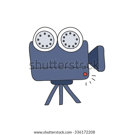doodle icon. video camera. vector illustration - stock vector