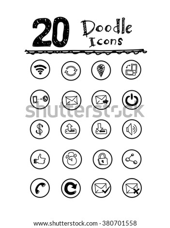 Doodle Icons, a set of vector doodle icons for your various project needs. - stock vector