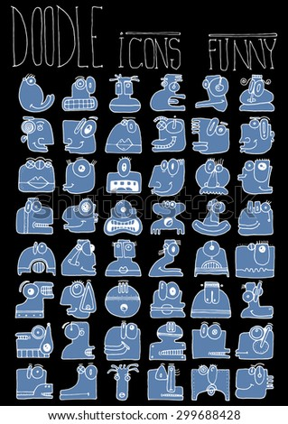doodle icons illustration collection FUNNY MONSTERS aliens strange color O