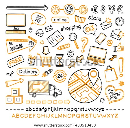 Doodle icons isolated on white background. E-commerce. Online shopping. Hand drawn sketch vector illustration. - stock vector