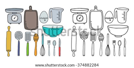 doodle icons. kitchen accessories and tools. vector illustration - stock vector