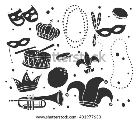 doodle icons. Mardi Gras traditional symbols. vector illustration - stock vector