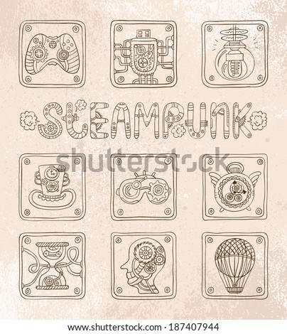 Doodle icons. Steampunk theme. Vector set - stock vector