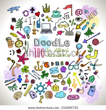 Doodle 100 Icons. Universal set drawing objects painted with colored felt pen. Vector  - stock vector