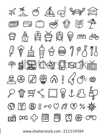 Everyday Objects Icons Set Sketched Planner Stock Vector ...