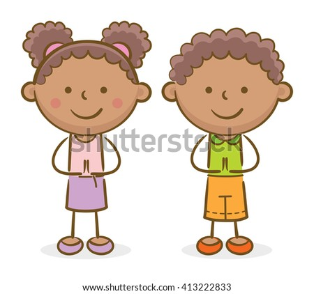 Doodle illustration: African kids making a greeting gesture and smiling