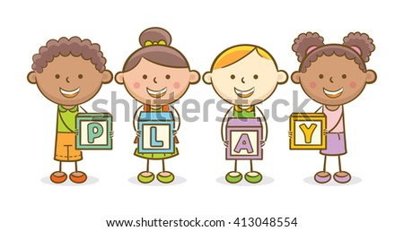 Doodle illustration: Alphabet block spelling Play - stock vector