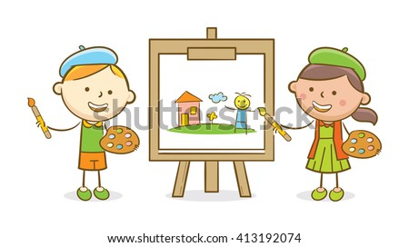 Doodle illustration: Boy and girl painting on canvas - stock vector