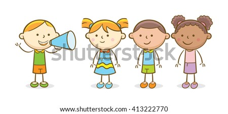 Doodle illustration: Boy shouting in a megaphone to another kids - stock vector