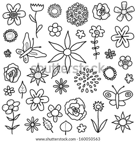 Doodle illustration collection with various flowers, leaves and butterflies. Floral scribble set.
