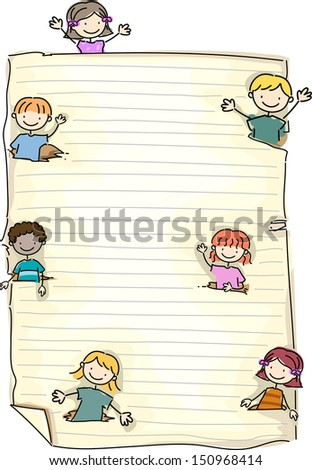 Doodle Illustration Featuring a Piece of Paper with Kids Sprouting in the Corners - stock vector
