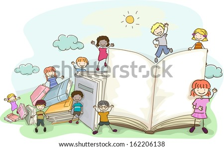 Doodle Illustration Featuring Kids Playing Around Giant Books - stock vector