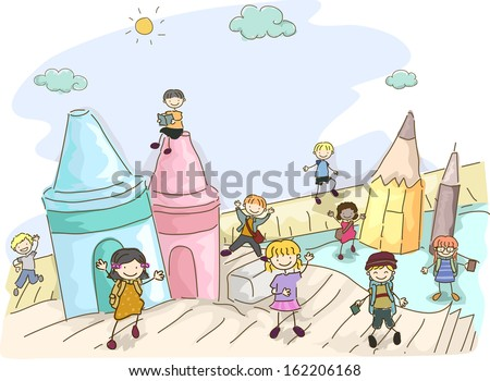 Doodle Illustration Featuring Kids Playing Around Giant Crayons - stock vector