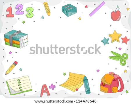 Doodle Illustration Featuring Letters, Numbers, and Miscellaneous School Supplies - stock vector