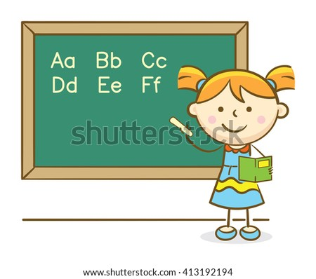 Doodle illustration: Girl writing ABCs alphabet on a chalkboard
