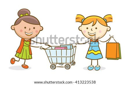 Doodle illustration: Girls holding shopping cart and shooping bag