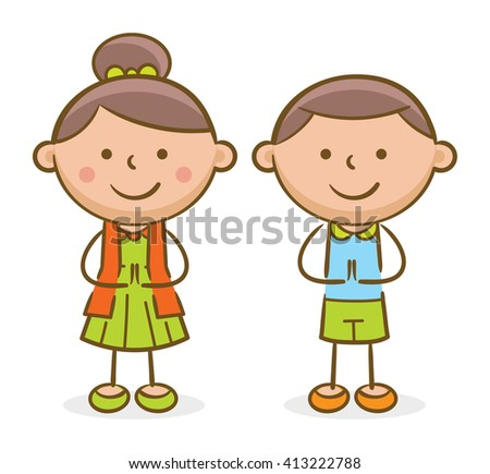 Doodle illustration: Hispanic kids making a greeting gesture and smiling
