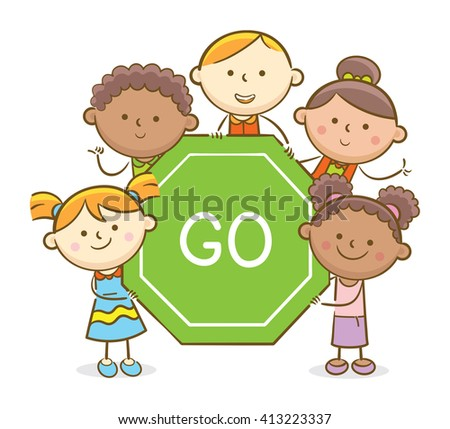 Doodle illustration: Kids holding a Go traffic sign