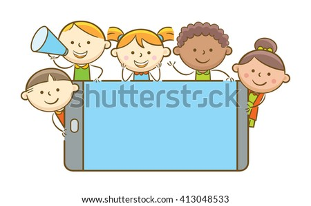 Doodle illustration: Kids holding blank screen mobile phone