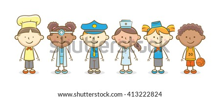 Doodle illustration: Kids in various profession costumes - stock vector
