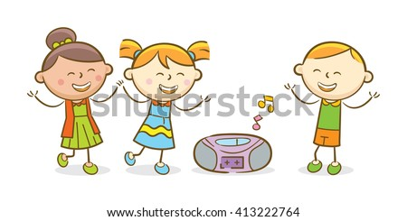 Doodle illustration: Kids listening to a music and dancing - stock vector