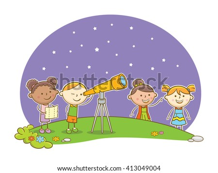 Doodle illustration: Kids looking at stars using telescope