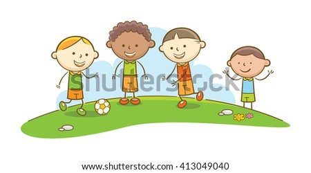 Doodle illustration: Kids playing Soccer - stock vector