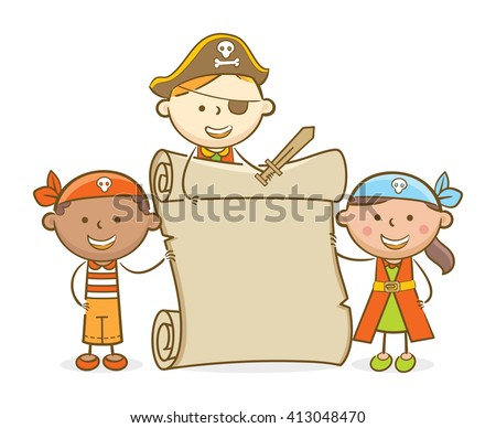 Doodle illustration: Kids role playing a pirate holding blank scroll - stock vector