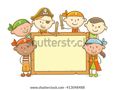 Doodle illustration: Kids role playing a pirate holding blank wooden board