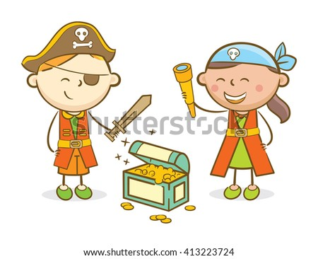 Doodle illustration: Kids role playing as a pirate - stock vector