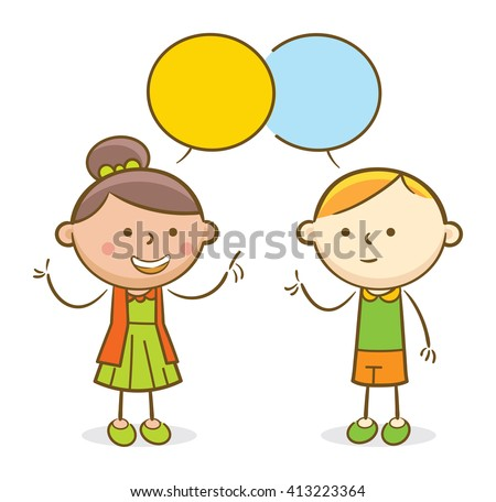 Doodle illustration: Kids talking to each other in a speech bubble - stock vector