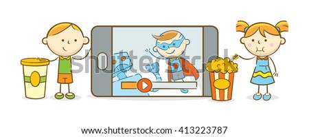 Doodle illustration: Kids watching movie from a mobile device