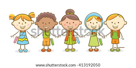 Doodle illustration: Multicultural kids going to school hand in hand - stock vector