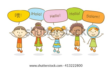 Doodle illustration: Multicultural kids saying hello on various languages - stock vector