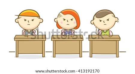 Doodle illustration: Naughty students in a classroom - stock vector