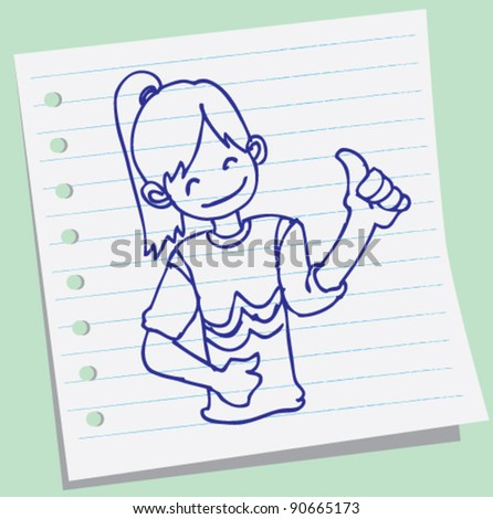 doodle illustration of a young girl holding their thumbs up - stock vector
