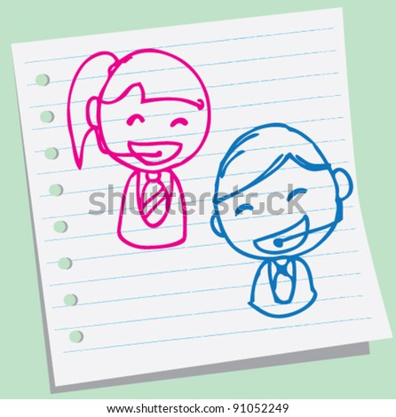 doodle illustration of boy and girl of customer service - stock vector