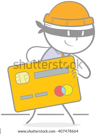 Doodle illustration of criminal holding a creditcard - stock vector