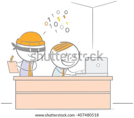 Doodle illustration of hacker stealing a password from a businessman - stock vector