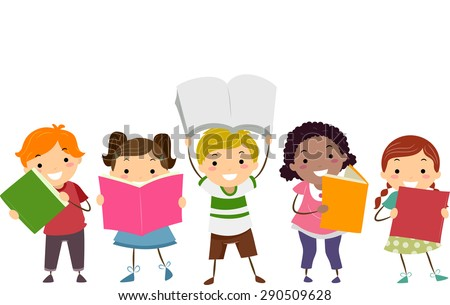 Doodle Illustration of Kids Showing the Books That They are Reading - stock vector