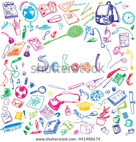 Doodle illustration of school objects. Colorful. Outlined illustration of design elements.