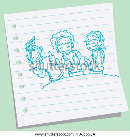 doodle illustration of three young girl holding their thumbs up - stock vector