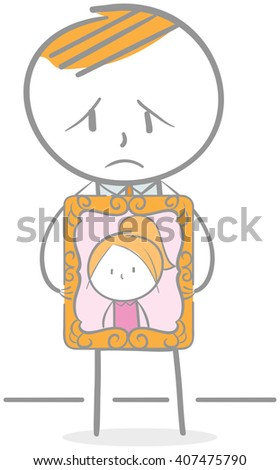 Doodle illustration of unhappy businessman holding photo frame - stock vector